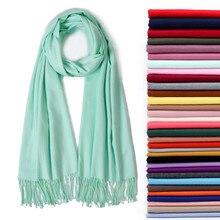 401b48b1739f 2019 écharpe pour femme soild hiver écharpes en cachemire pour dames cou  chaud pashmina long châle wraps bandana foulard femelle.
