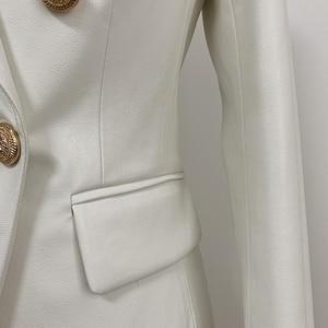 Image 4 - Nouvelle collection automne hiver 2020 veste Blazer femme boutons métal Lion Double boutonnage cuir synthétique Blazer pardessus
