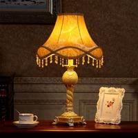 Европейский Стиль лампа Спальня ночники исследование пастырской Американский Творческий Ретро освещение ткань кабинет Гостиная лампа