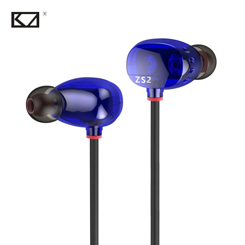 где купить KZ ZS2 4 HiFi Moving Coil Bass Stereo Universal Phone In Ear Tablet Earbud Sluchatka na Mobil Sport Music MP3 Earphones with Mic по лучшей цене