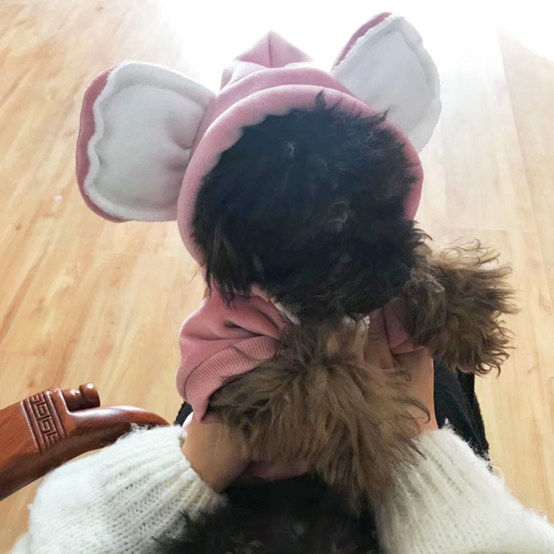Cute Big Ears Dog Clothes Winter Warm Pleuche Hoodies for Dog Frenchie Bulldog Clothes Puppy Teddy Hooded Jackets Clothing XQ39 ...