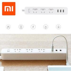 Image 1 - Original xiaomi mi tomada de energia tira portátil plug adaptador com 3 porta usb multifuncional casa inteligente eletrônica