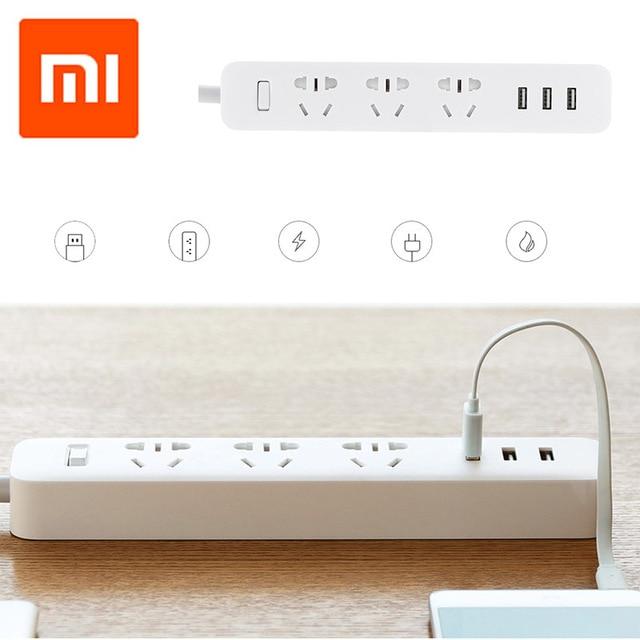 Original xiaomi mi tomada de energia tira portátil plug adaptador com 3 porta usb multifuncional casa inteligente eletrônica
