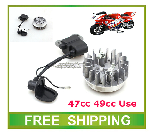 mini moto atv quad 47cc 49cc pocket bike ignition coil ignitor and fly wheel rollor accessories free shipping