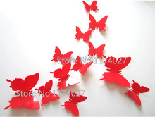 Hot Sale 12PCS 3D Butterfly Wall Decals Multicolor PVC 3D Butterfly Wall Stickers For TV Wall