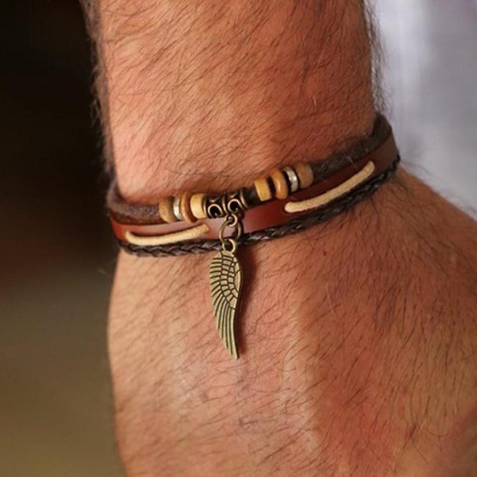 Punk leather bracelets for women men jewelry Wing Charm pulseira masculina pulseira feminina erkek bileklik bracelet men femme in Chain Link Bracelets from Jewelry Accessories