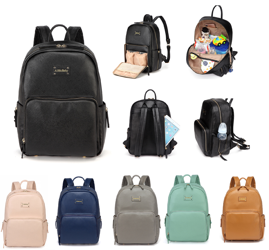Fashion Elegant Practical PU Leather Baby Changing Nappy Diaper Bag Backpack with Changing Pad AMB168