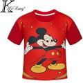 2017 Niños de Dibujos Animados en 3D de manga Corta T Camisa de la novedad de la Manera Boy Sport T-Shirt Rojo Mickey Mouse Impresión Digital Diseño de Marca Tops