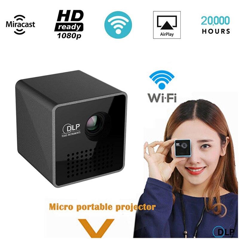 Mini Proiettore 1080 p Senza Fili WIFI Mobile di Sostegno Del Proiettore Miracast DLNA Tasca Proyector home theater 5.1 DLP Beamer Batteria