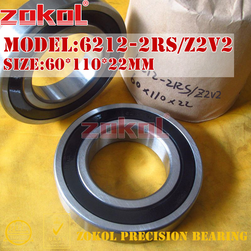 ZOKOL 6212RS Z2V2 bearing 6212 2RS Z2V2 180212 Z2V2 Deep Groove ball bearing 60*110*22mm ripani 6212 cr rip 00003 nero