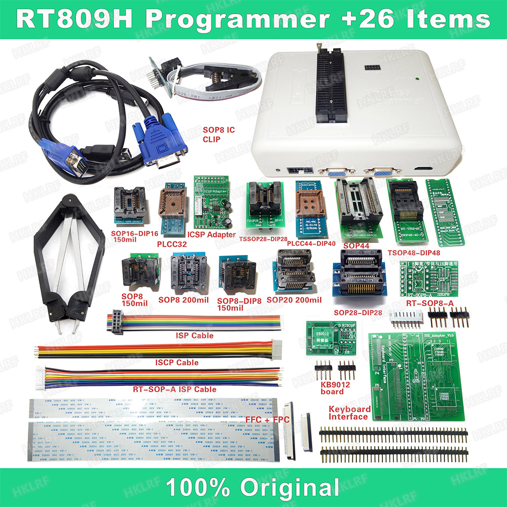 RT809H EMMC Nand FLASH Programmer 26 Iterms With Cables EMMC Nand Free shipping