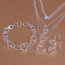 Silver plated refined luxury gorgeous fashion noble elegant classic caring three piece hot selling wedding jewelry S149