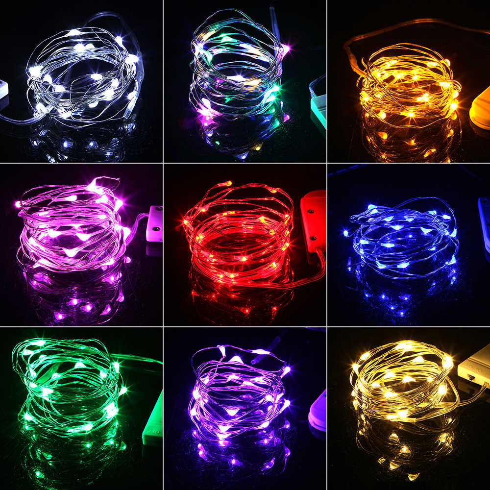 10 20 LED Copper Silver Wire String Lights Waterproof Fairy Garland Light for Christmas Home Wedding Decoration Battery Operated