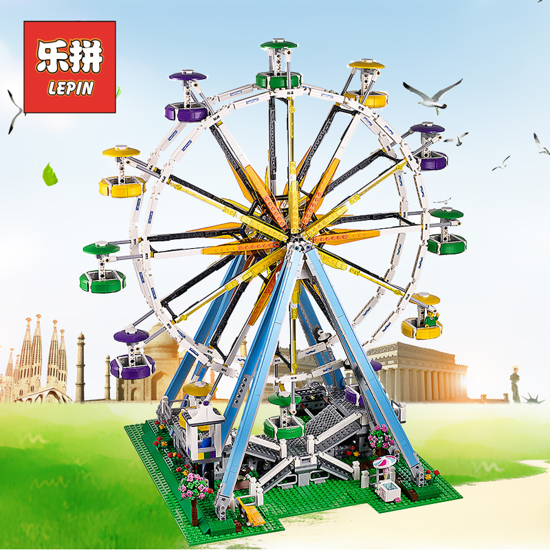 Lepin City 15012 the Creator Building Blocks Ferris wheel Compatible 10247 Bricks DIY Collection Toys Toys for Children Gifts led light for lego 10247 building blocks bricks creator city street ferris wheel compatible 15012 toys light with battery box