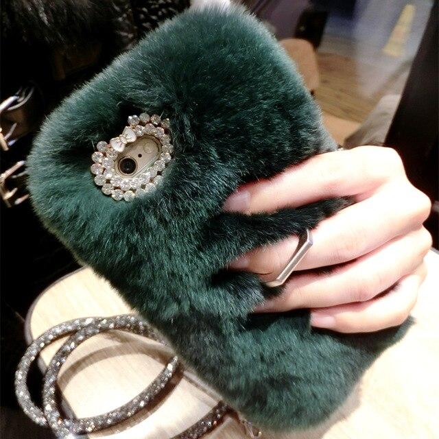 Schöne Warme Kaninchen Haar Silikon Stent Abdeckung Für SamsungS5 S6 S6E PLUS S7 RAND S8 S9PLUS N3 N4 N5 N8 C5 C9 Pro Kaninchen haar