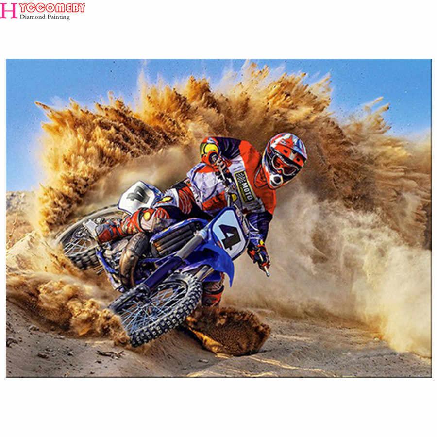 Полная дрель Круглый Алмаз 5D DIY Алмазная картина мотоцикл гонка Алмазная вышивка крестиком горный хрусталь мозаика картина
