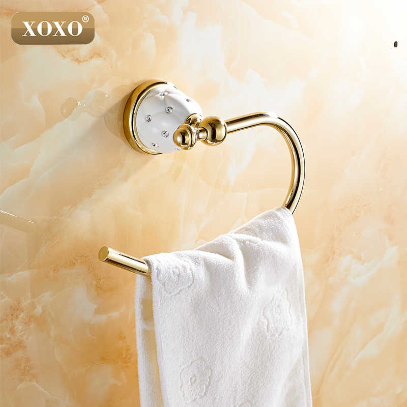XOXO Ręcznik Pierścień Mosiądzu Miedzi Złote Wykończone Akcesoria Łazienkowe Produkty, Uchwyt Na Ręcznik, Ręcznik bar 10080GT