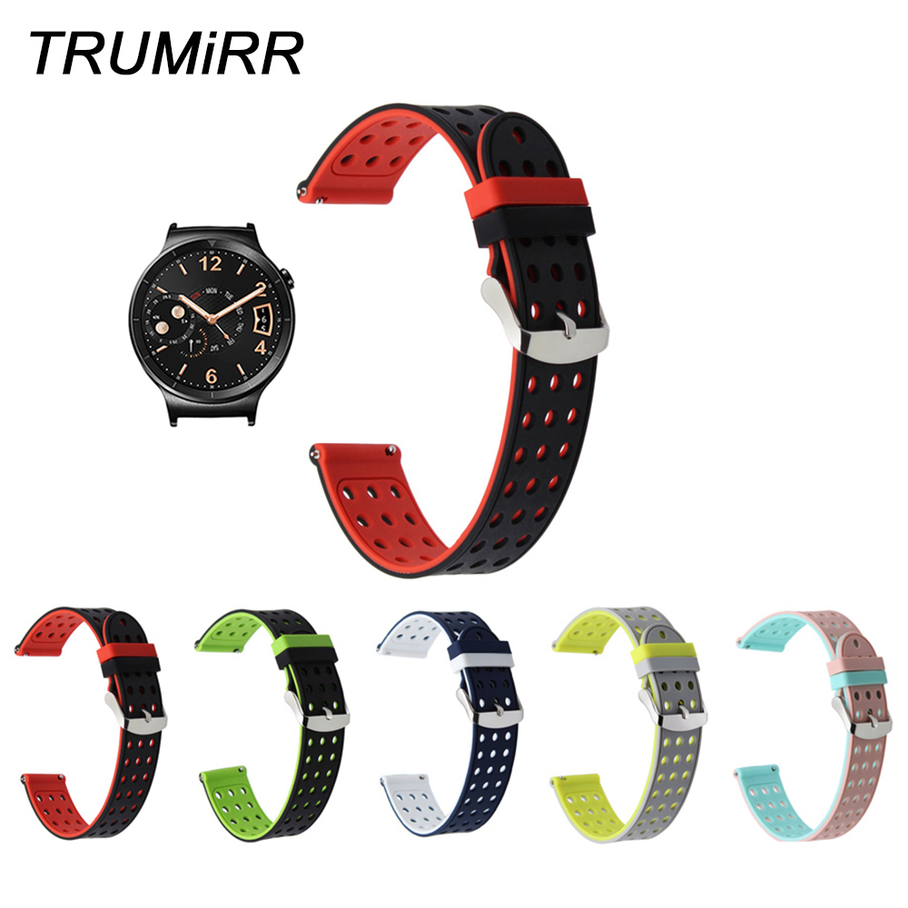 18mm Quick Release Silicone Rubber Watchband for Huawei Watch /Fit Honor S1 Asus ZenWatch 2 Women 1.45'' WI502Q Wrist Band Strap 18mm nylon watchband for asus zenwatch 2 women wi502q 1 45 45mm fabric watch band nato strap wrist bracelet multi color tool
