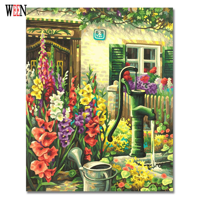 WEEN DIY Little Front Door Garden Oil Painting By Number DIY Handpainted  Drawing Wall Canvas Art