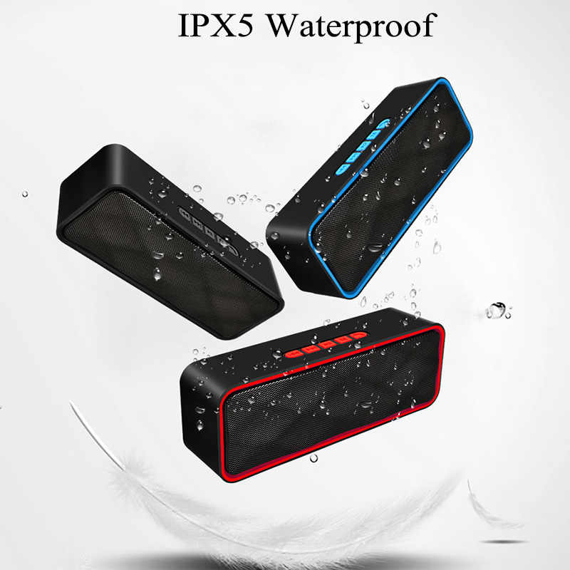 LIGE Bluetooth Speaker Portable Bluetooth Column Loudspeaker with Mic Music Box Model Support TF AUX FM Radio for Smartphone PC
