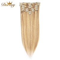 Dorisy Hair 18 22 Inch Peruvian Straight Remy Clips In 100% Human Hair Extensions P18/613 Color Full Head 8 Pieces/Set No Smell