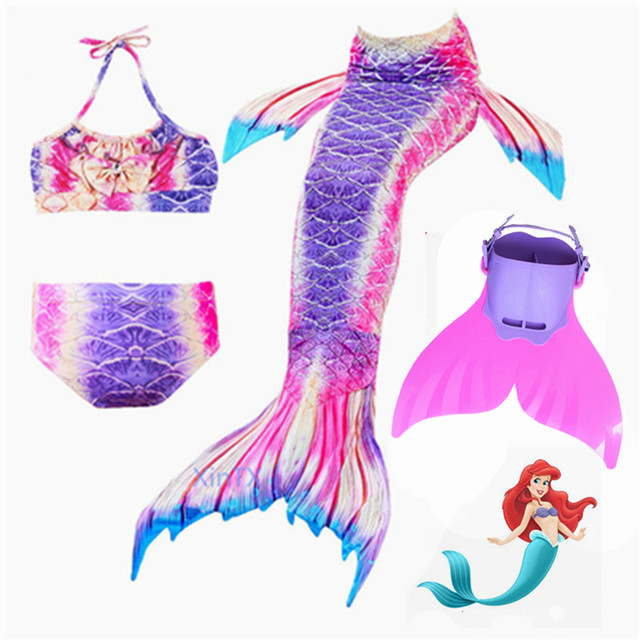 24dbeadd1a40 New 4PCS Kids Mermaid Tails For Swimming Costume with Monofin Girls Swimming  Mermaid Tail Mermaid Swimsuit Flipper For Girls