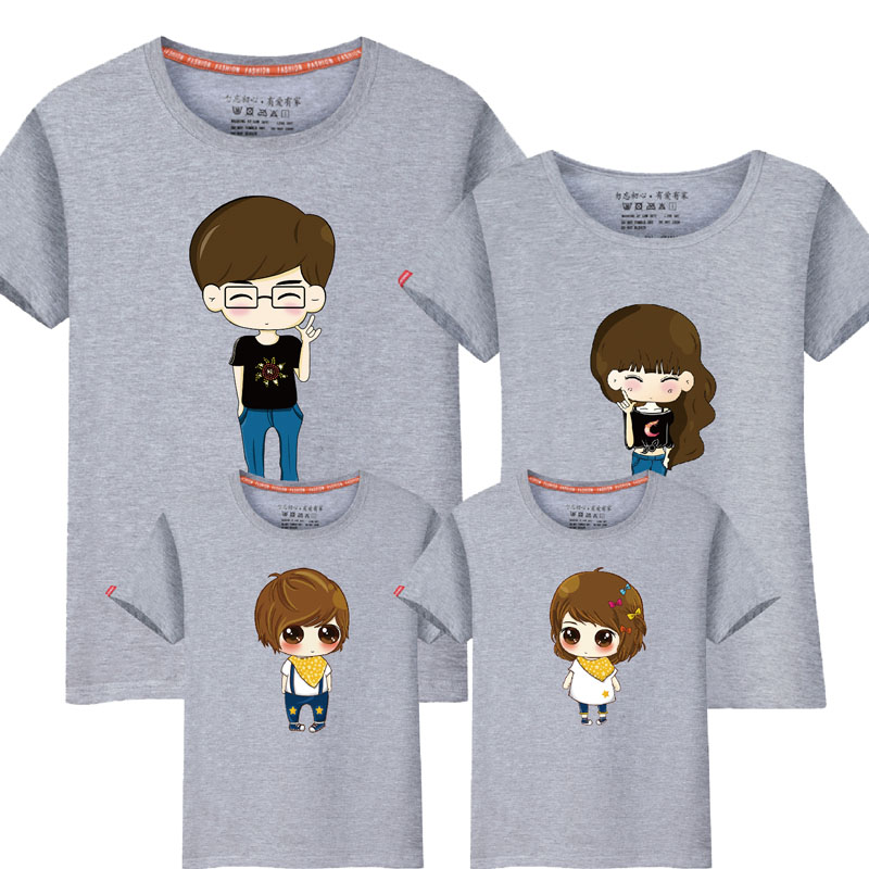 95% Cotton&5% Silk Fashion Family Matching Outfits Cartoon Mother Father Daughter Son Clothes Short Sleeve Couple T Shirt Slim sexy sports bra and leggings