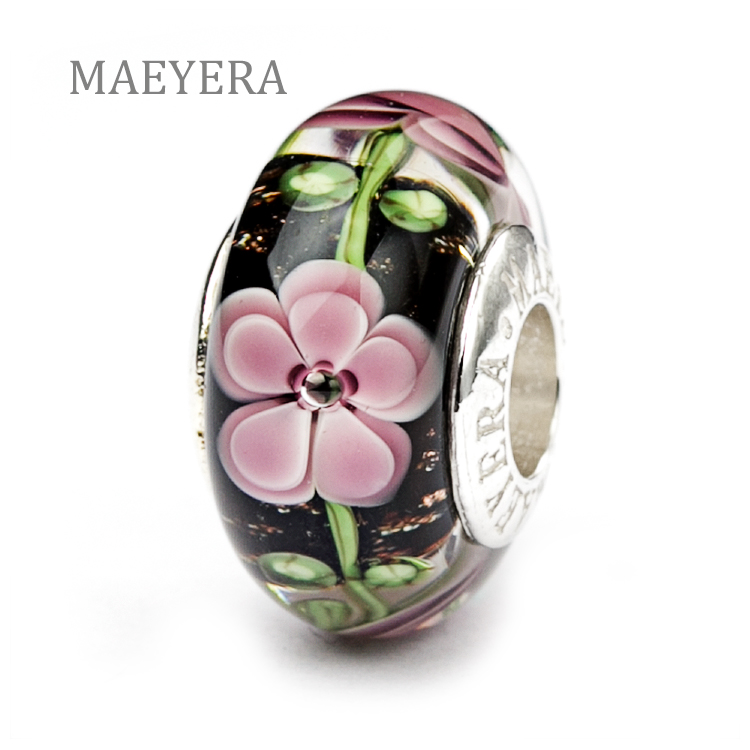 Considerate Maeyera Authentic 925 Sterling Silver Black Bottom Green Rattan Purple Flowers Murano Glass Beads Fit European Bracelet 920207 Easy And Simple To Handle Beads