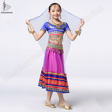 Kids Belly Dance Bollywood Costume Set Children Indian Sari Outfits Skirt Stage Performance (Headwear Veils Top Belt Skirt)