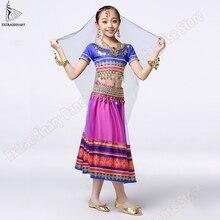 Kids Belly Dance Bollywood ชุดเครื่องแต่งกายเด็กอินเดีย Sari ชุดกระโปรง Stage Performance (Headwear Veils Top กระโปรง)
