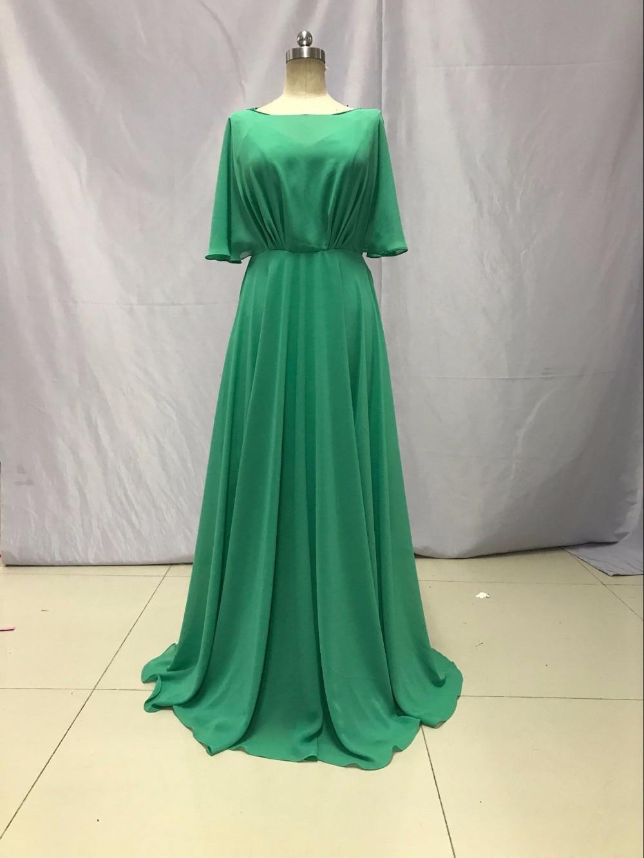 Livraison gratuite o-cou demi manches longueur au sol en mousseline de soie robes de soirée vert robes de bal