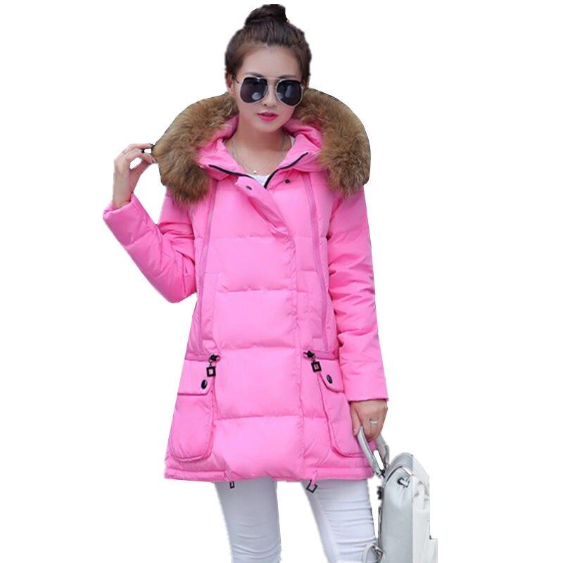 Kadın Uzun Aşağı Ceket Pamuk Coat 2016 Sonbahar Kış Kore kalın Kürk Yaka Kapşonlu Pakas Kadın Kış Artı Boyutu Ceket C458