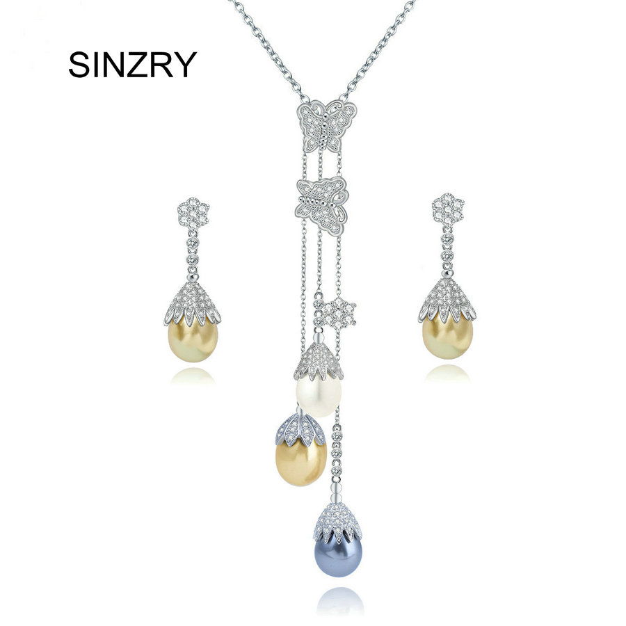 SINZRY יוקרה תכשיטי AAA מעוקב Zirconia טאסל שרשרת עגיל סט חם חיקוי פרל כלה תכשיטי סט לנשים
