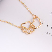 New Simple Cutout Pet Dog Paw Trail Necklace Cute Animal Claw Love Pendant Female Girl Jewelry