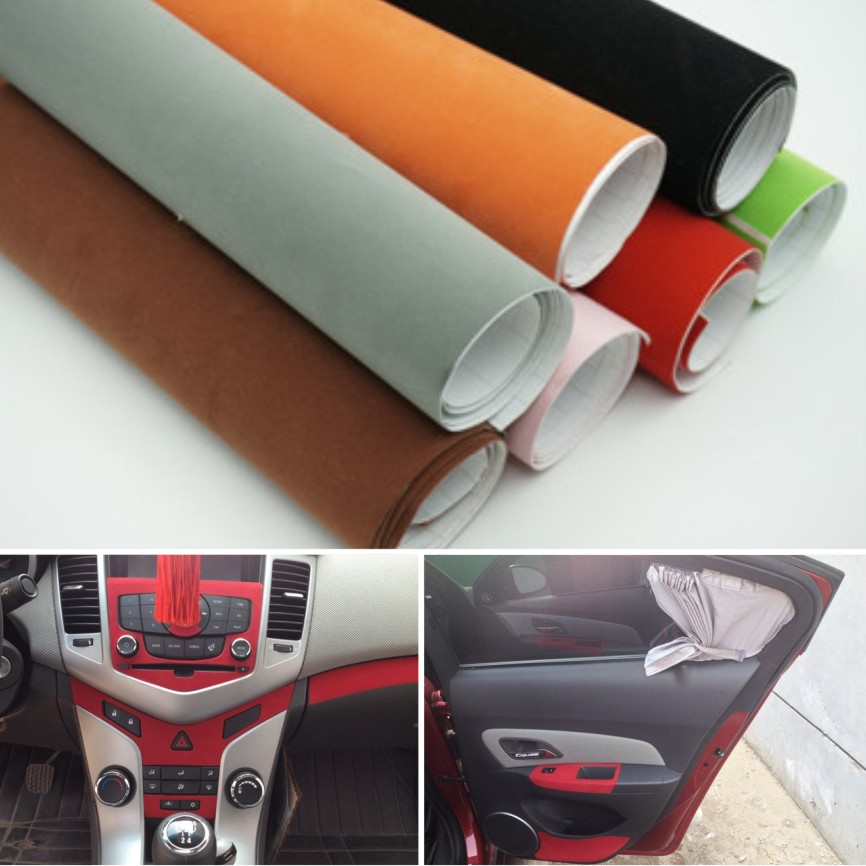 135 30cm 8 colors velvet fabric velvet film suede film car sticker with bubble car interior. Black Bedroom Furniture Sets. Home Design Ideas