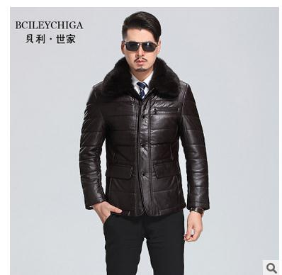 Middle-Aged Men'S Rabbit Fur Collar Winter Autumn Leather Jackets Casual Male Plus Size Leather Coats M/4Xl Overcoats J1650-10