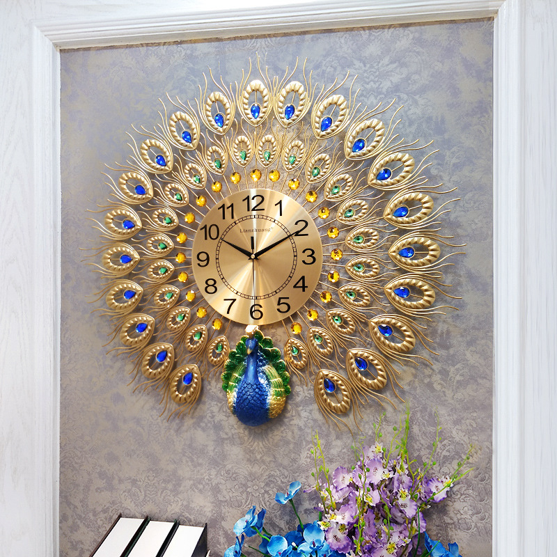 Peacock Crystal Big Large Wall Clock Modern Design Clock Luxury Wall Watch Home Living Room Decoration Silent Quartz duvar saatiPeacock Crystal Big Large Wall Clock Modern Design Clock Luxury Wall Watch Home Living Room Decoration Silent Quartz duvar saati