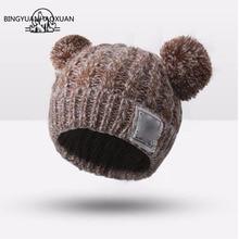 1pcs Hat Children Winter Caps Hats For Kid Devil Horns Ear Cute Crochet Braided Knit Beanies Hat Warm Cap Hat Bonnet Homme Gorro
