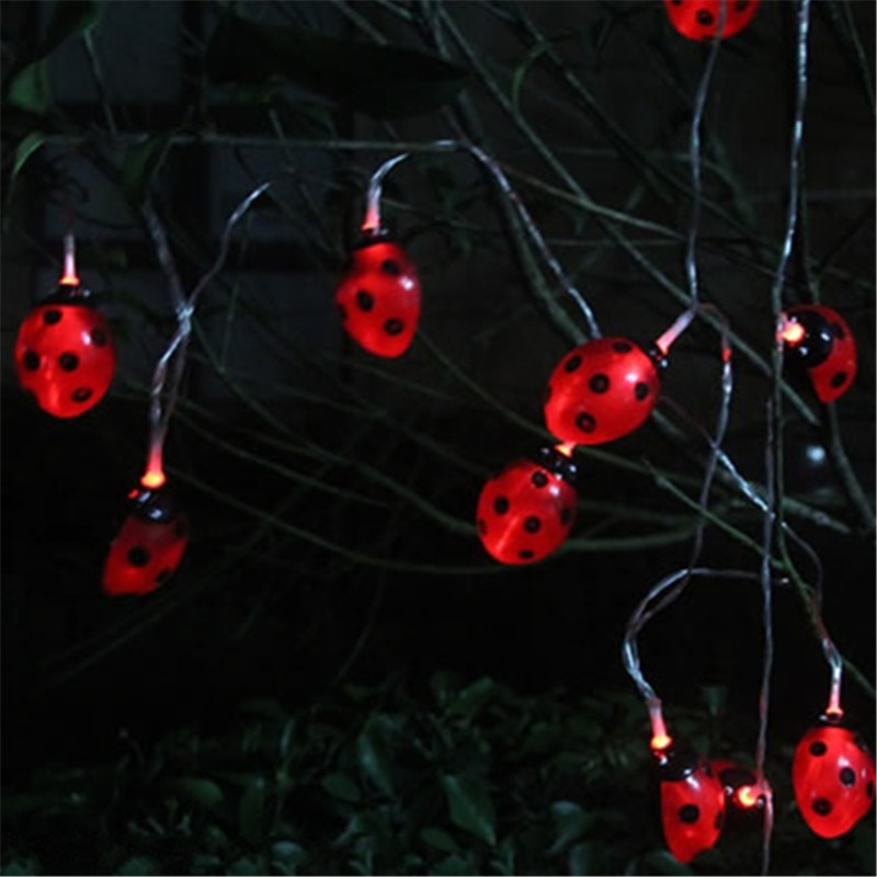 Creative LED Solar Panel Ladybug String Lights Sunlight Powered New Year  Holiday Decoration Waterproof Landscape Garden Lamp In LED String From  Lights ...