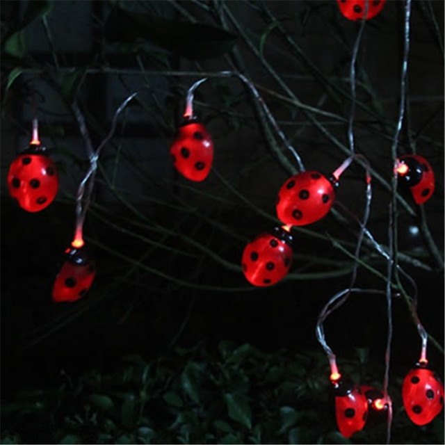 Superieur Creative LED Solar Panel Ladybug String Lights Sunlight Powered New Year  Holiday Decoration Waterproof Landscape Garden
