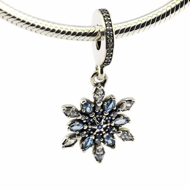 Serve para pandora pulseiras cristalizadas encantos do floco de neve com cristais azuis 100% 925 grânulos de prata esterlina frete grátis