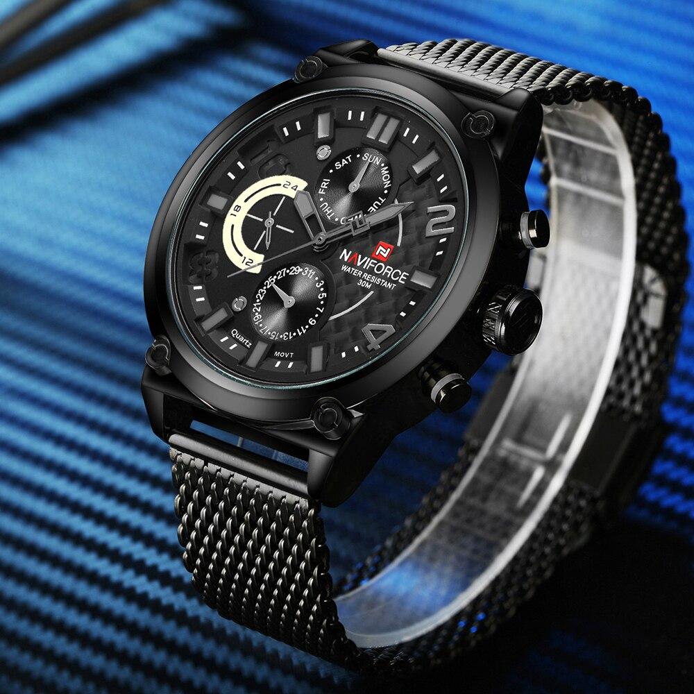 NAVIFORCE люксовый брендовый мужской 3ATM водонепроницаемые часы Мужские Аналоговые кварцевые часы 24 часа дата часы мужские спортивные часы полностью Стальные наручные часы - 4