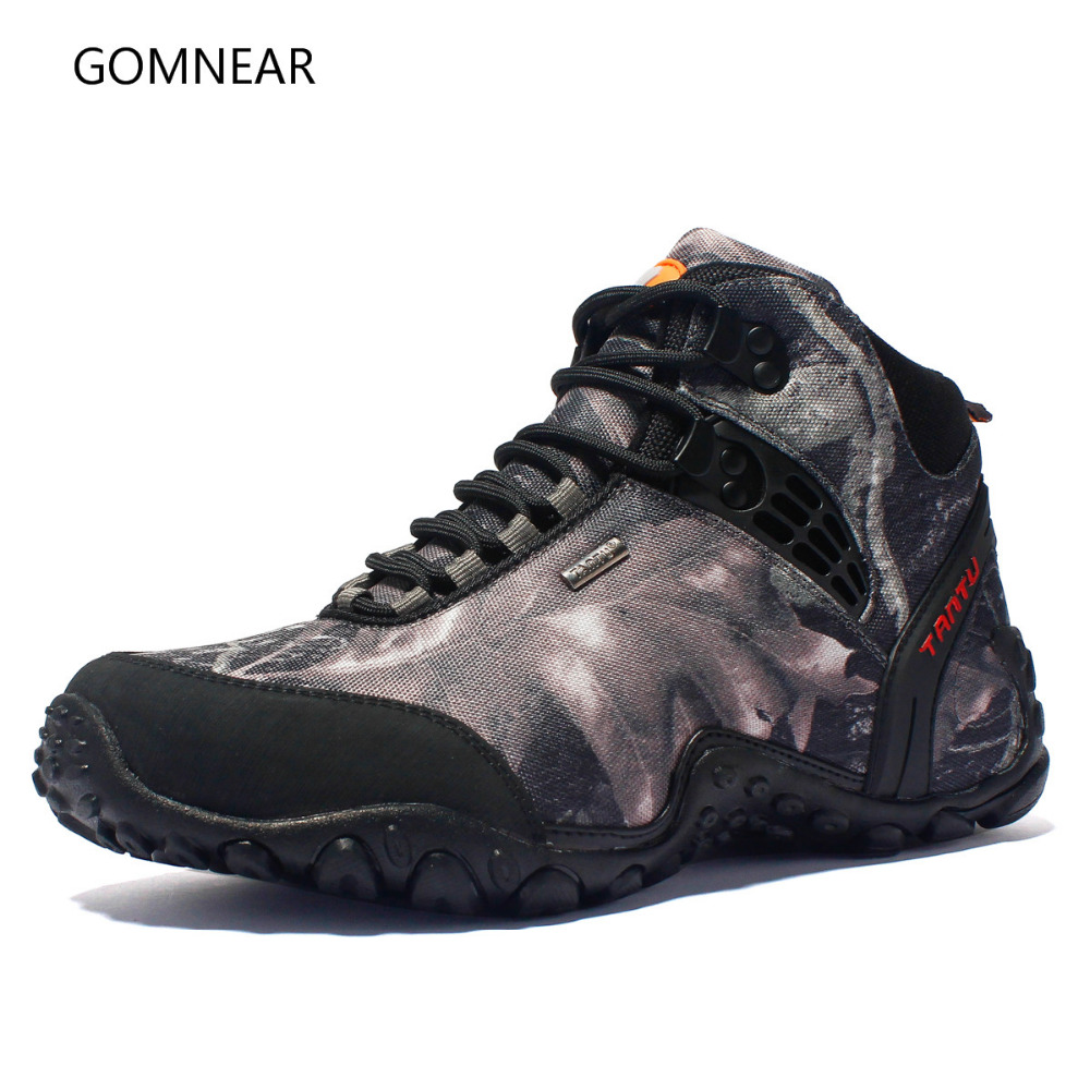 GOMNEAR New Men Hiking Shoes Waterproof Canvas Anti skid Wear resistant breathable Shoe Trekking Tourism fishing