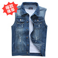 2017 autumn thin type of cultivate one's morality leisure vest male adolescents sleeveless denim vest