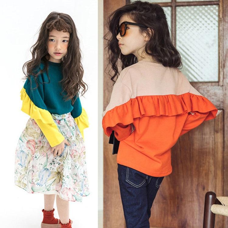 Scuola Little Girls Tops Bambini Khaki Blu Autunno Primavera T-shirt Grande Delle Ragazze T Shirt Per Le Ragazze Di 12 Anni 14 16 10 8 6 4 Vestiti