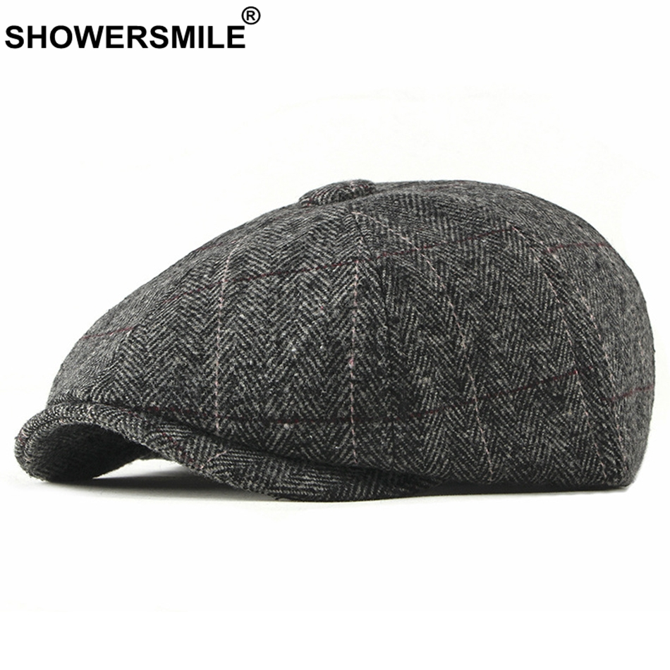 SHOWERSMILE Tweed Newsboy Cap Men Wool Herringbone Flat Cap Winter Grey Striped Male British Style Gatsby Cap Hat Adjustable
