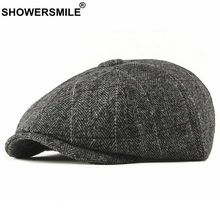 SHOWERSMILE Tweed Newsboy Cap Men Wool Herringbone Flat Cap Winter Grey Striped