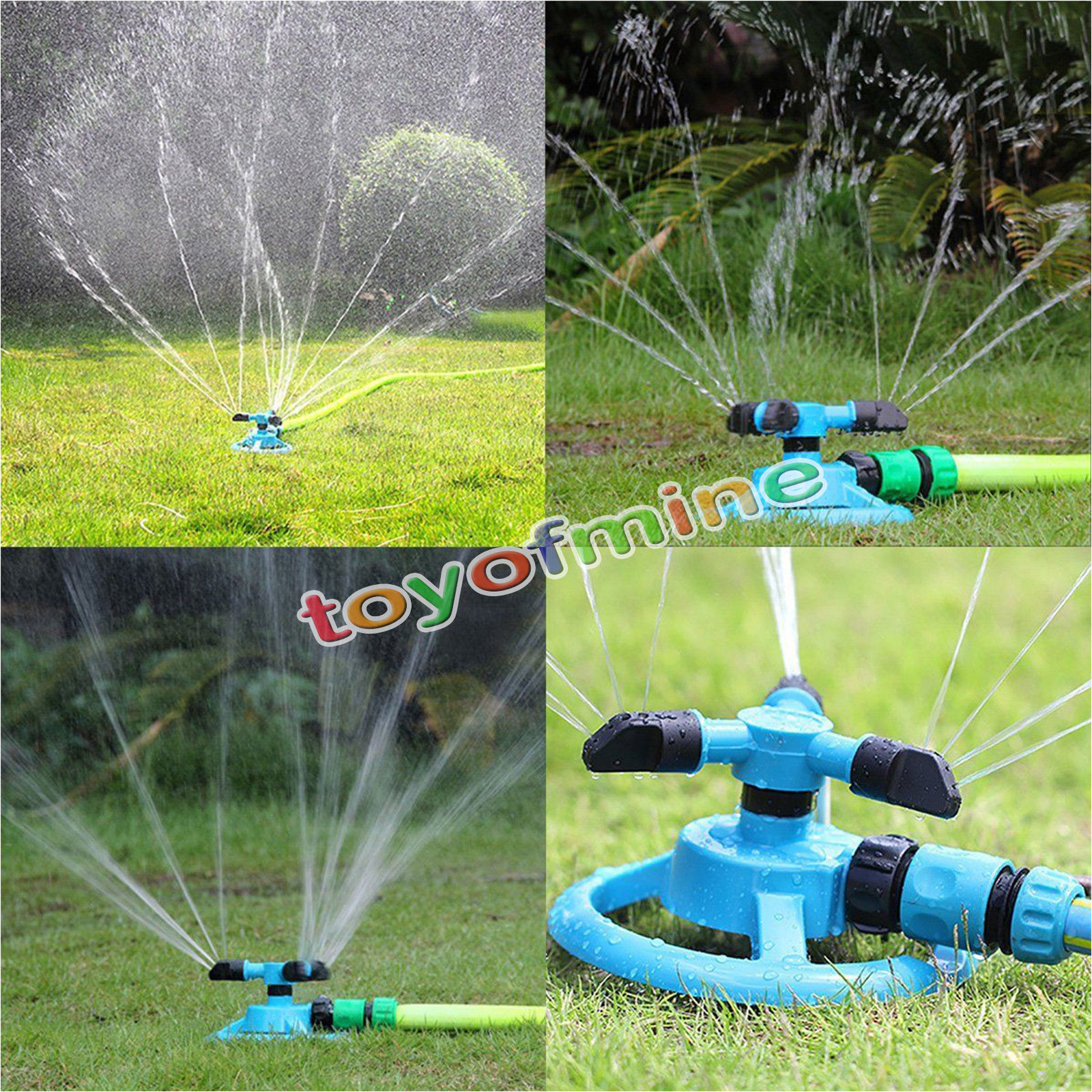 360 Degree Fully Rotating Water Sprinkler 3 Nozzles Garden Pipe Hose Irrigation Spray Grass Lawn