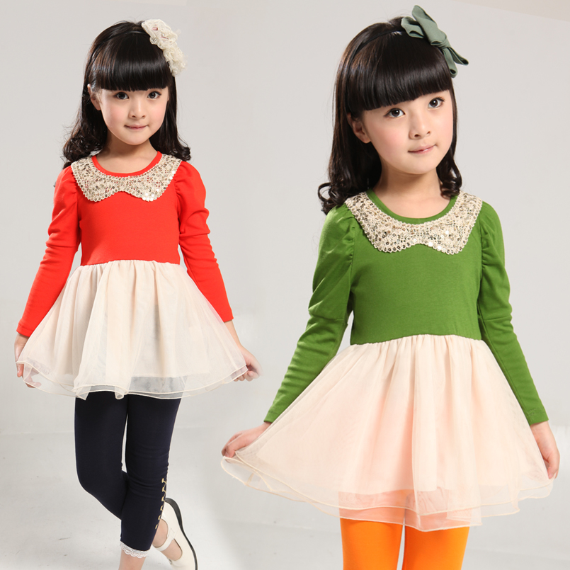 Kids Dresses For Girls Clothes Long Sleeve Voile Girls Dresses Patckwork Princess Party Dresses 2 4 6 7 8 Years Autumn Vestidos