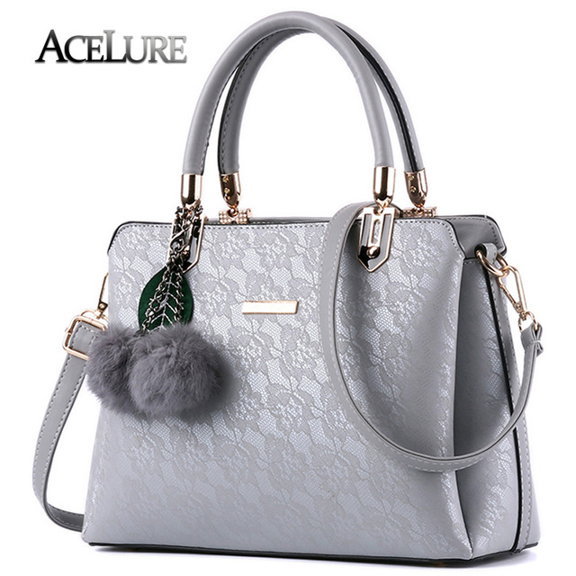 Acelure Women Fur Handbags 2017 High Quality Printing Bags Pu Leather Shoulder Messenger